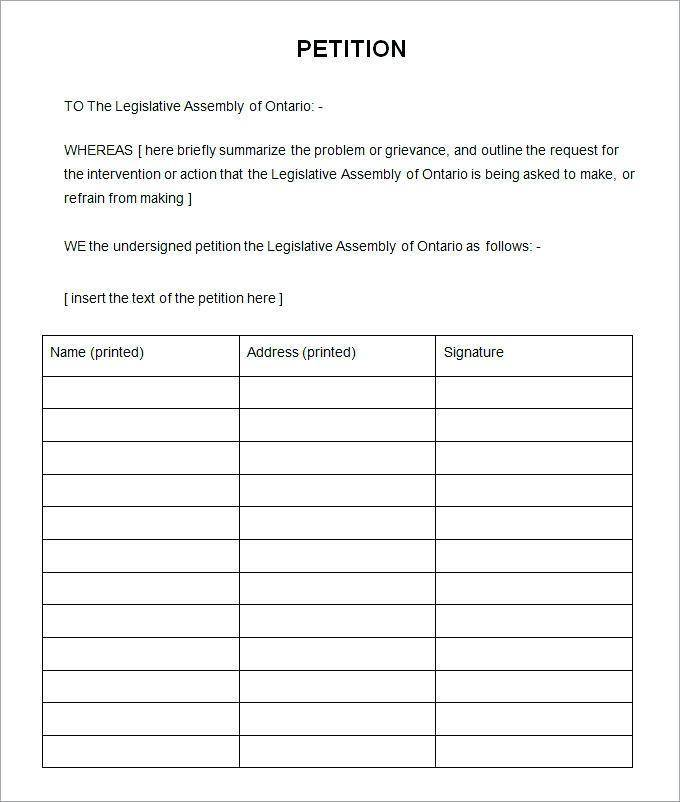 Neighborhood Petition Template
