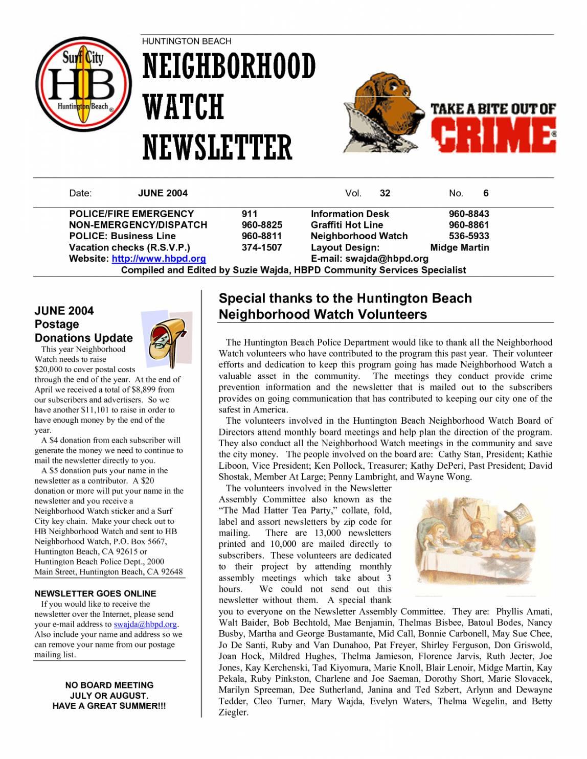 Neighborhood Watch Newsletter Templates
