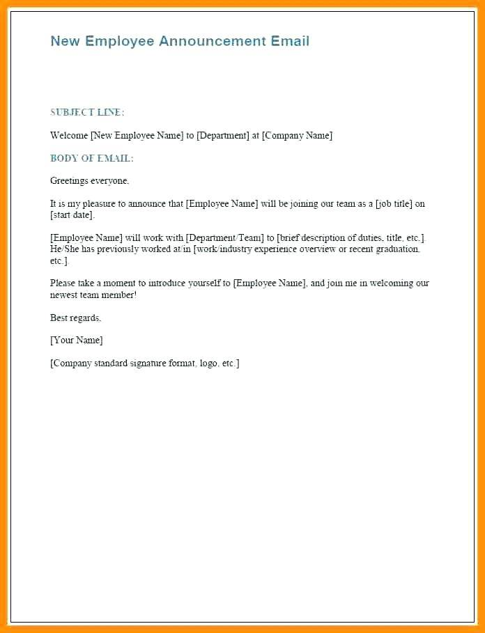 New Employee Orientation Email Template