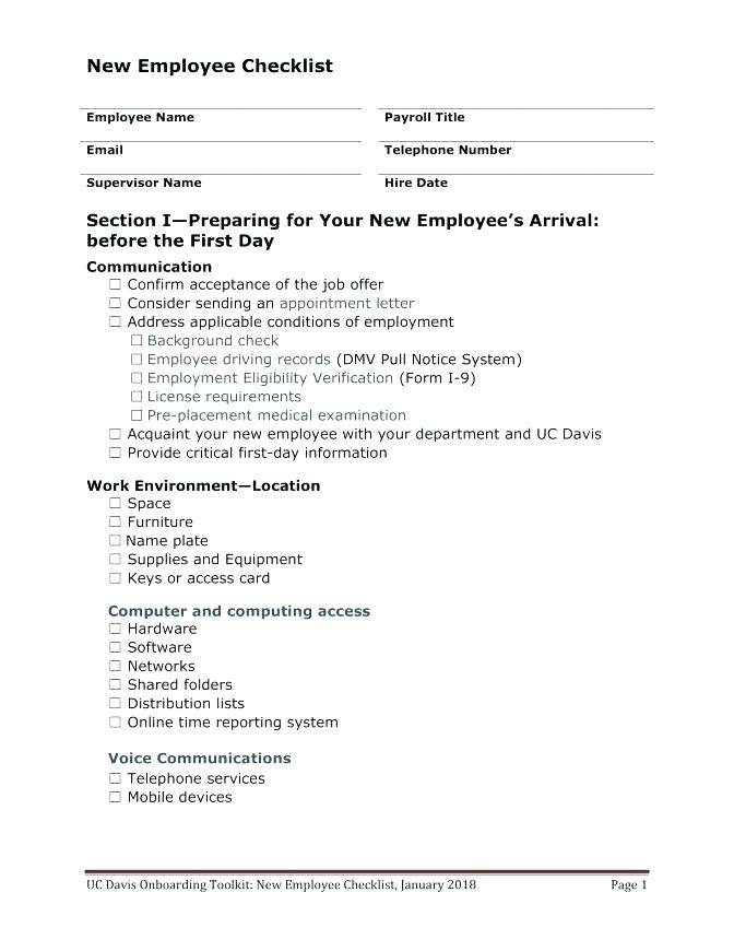 New Hire Paperwork Checklist Template