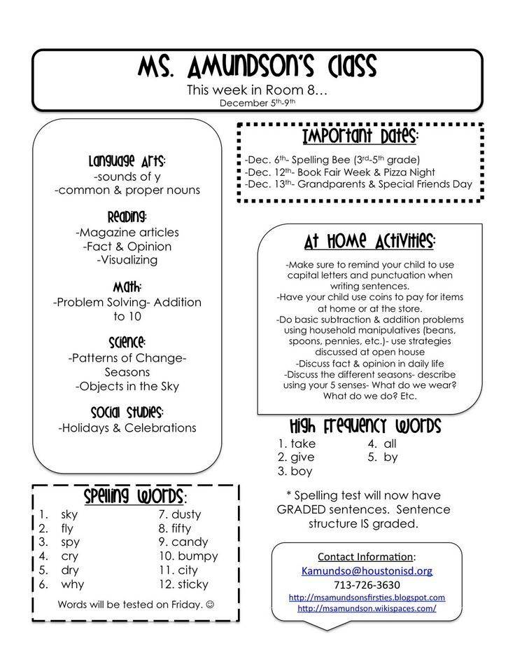 Newsletter Templates 1st Grade