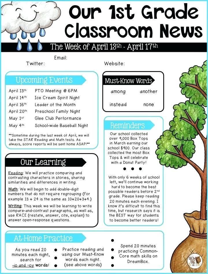 Newsletter Templates For Preschool Parents