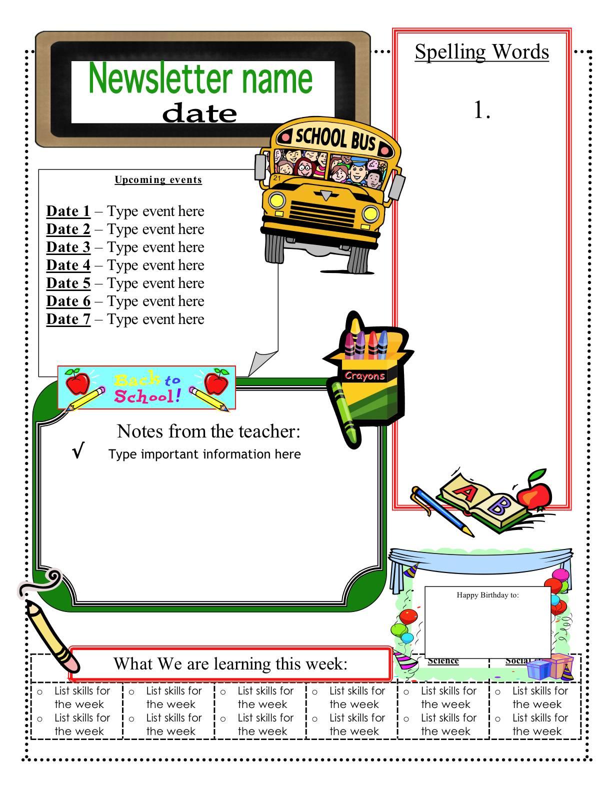 Newsletter Templates For Teachers Word