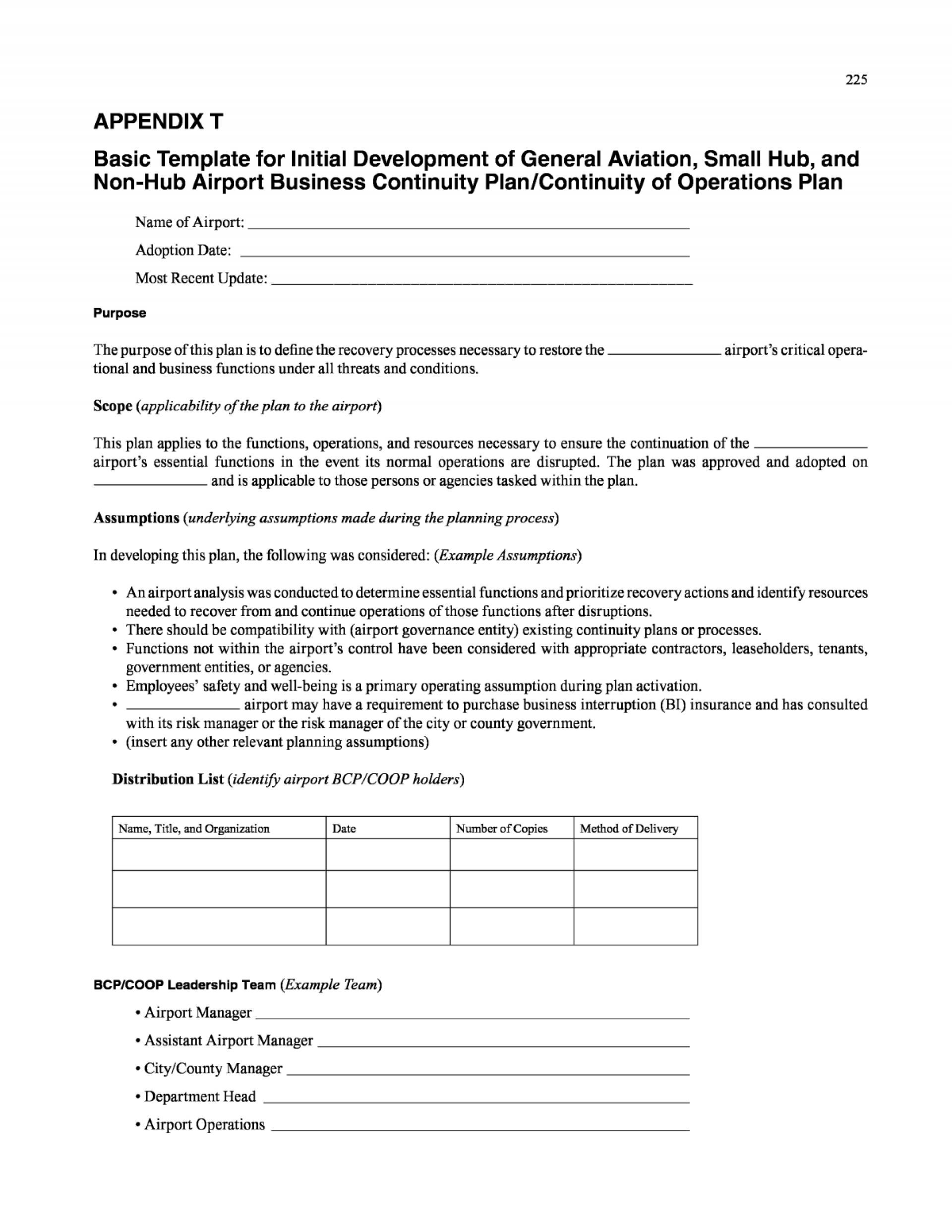 Nist Continuity Of Operations Plan Template