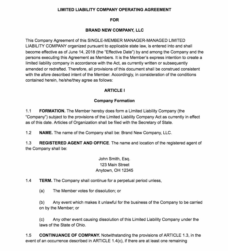 Nj Llc Articles Of Organization Form