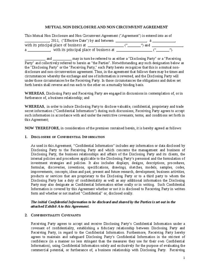 Non Circumvention Agreement Template