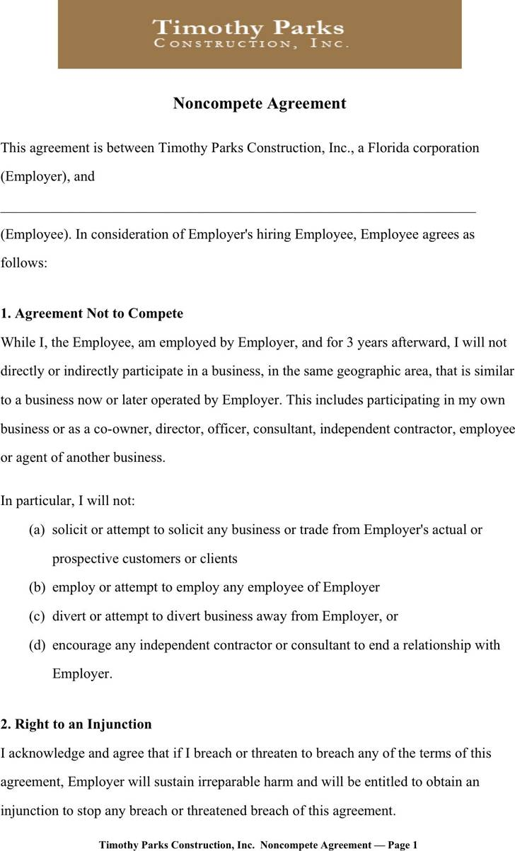Non Compete Agreement Sample Free