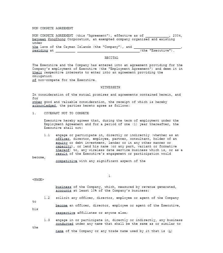 Non Compete Agreement Template Australia
