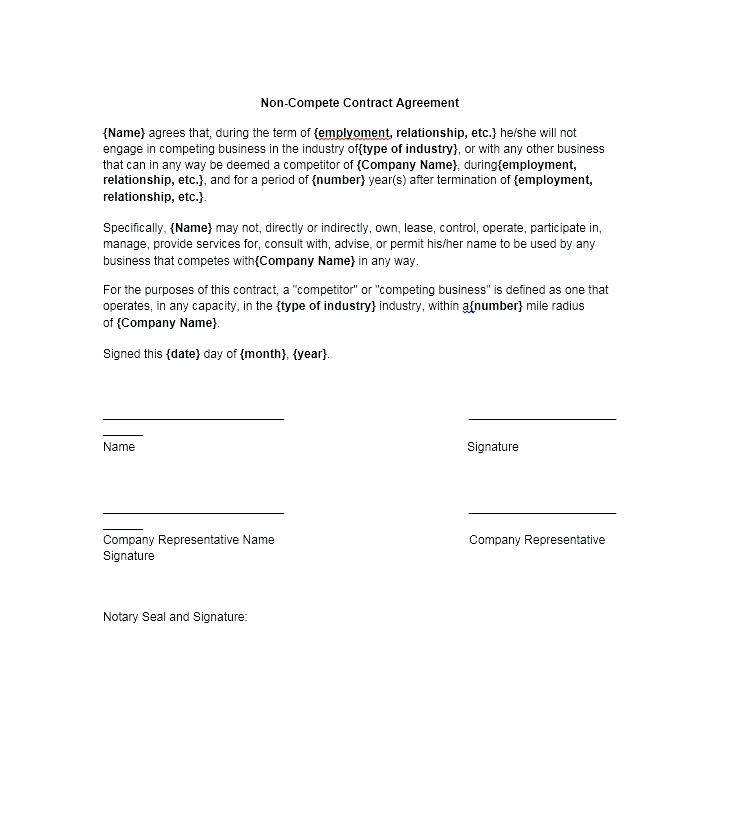 Non Compete Agreement Template Canada