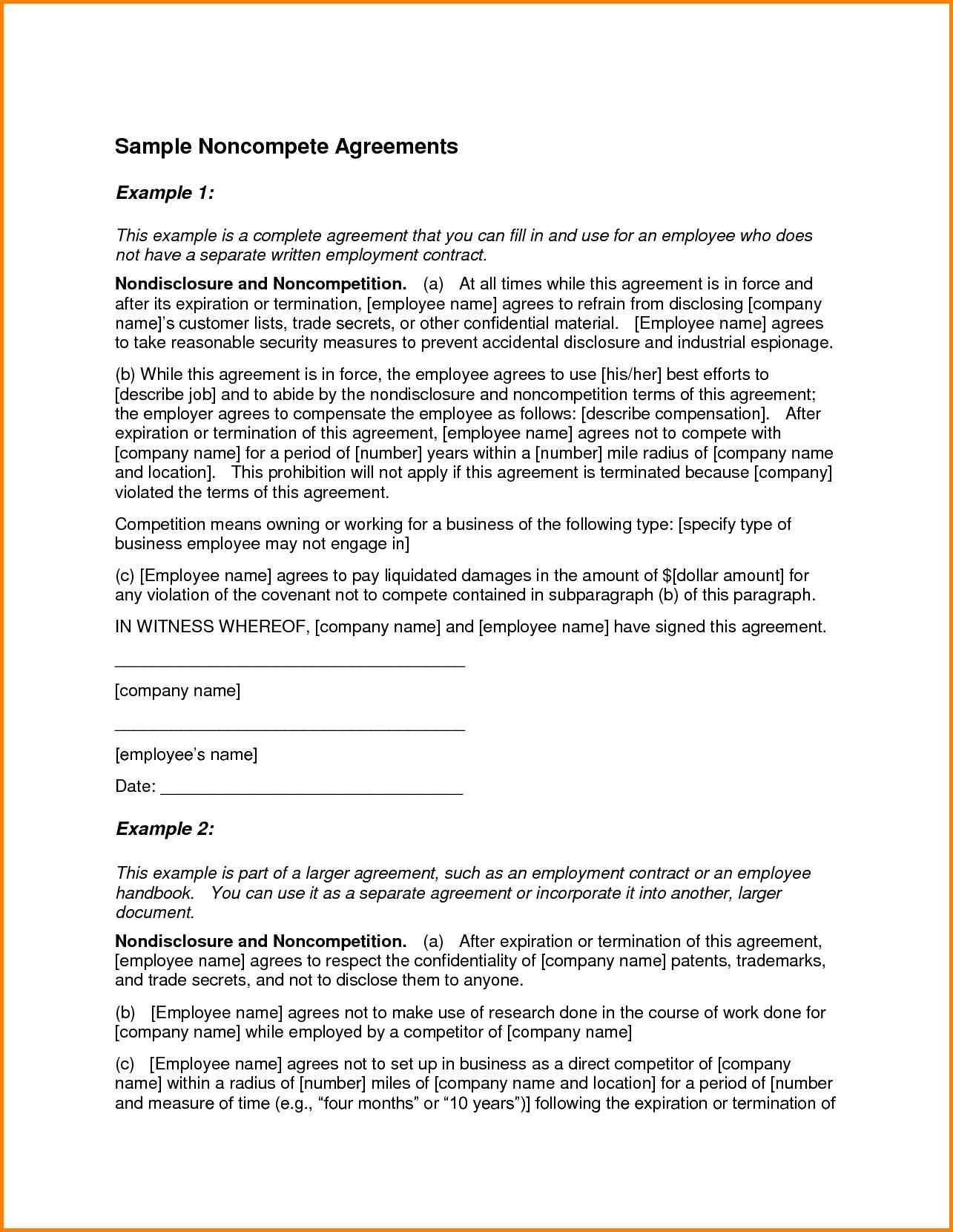 Non Compete Agreement Template Free