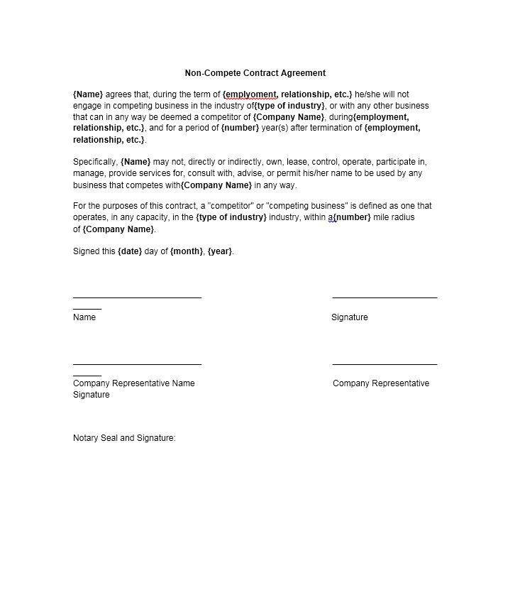 Non Compete Agreement Template Word