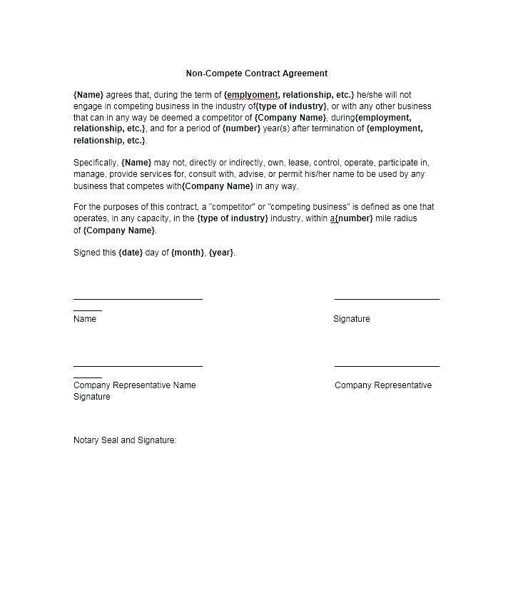 Non Competition Clause Agreement