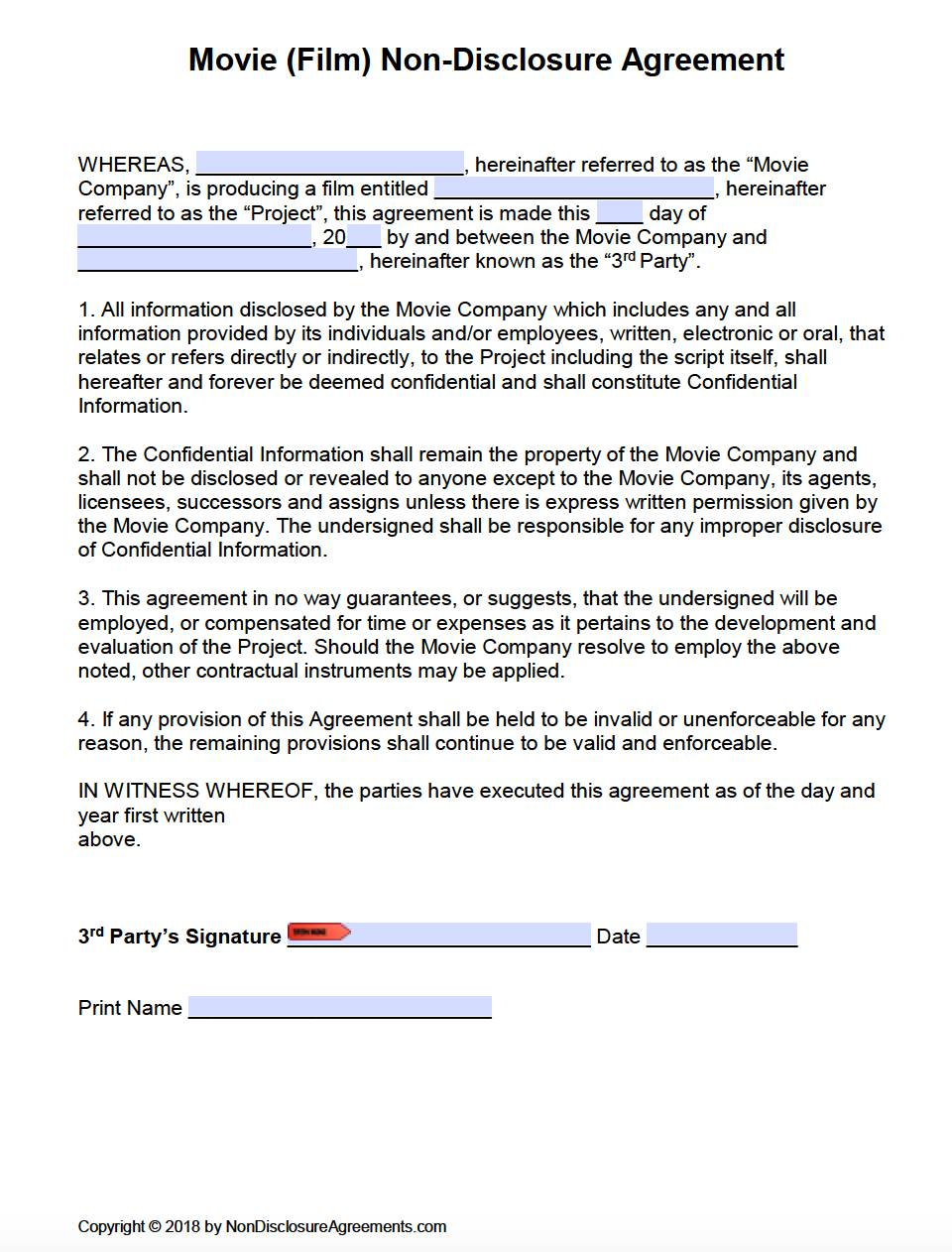 Non Disclosure Agreement Form Word