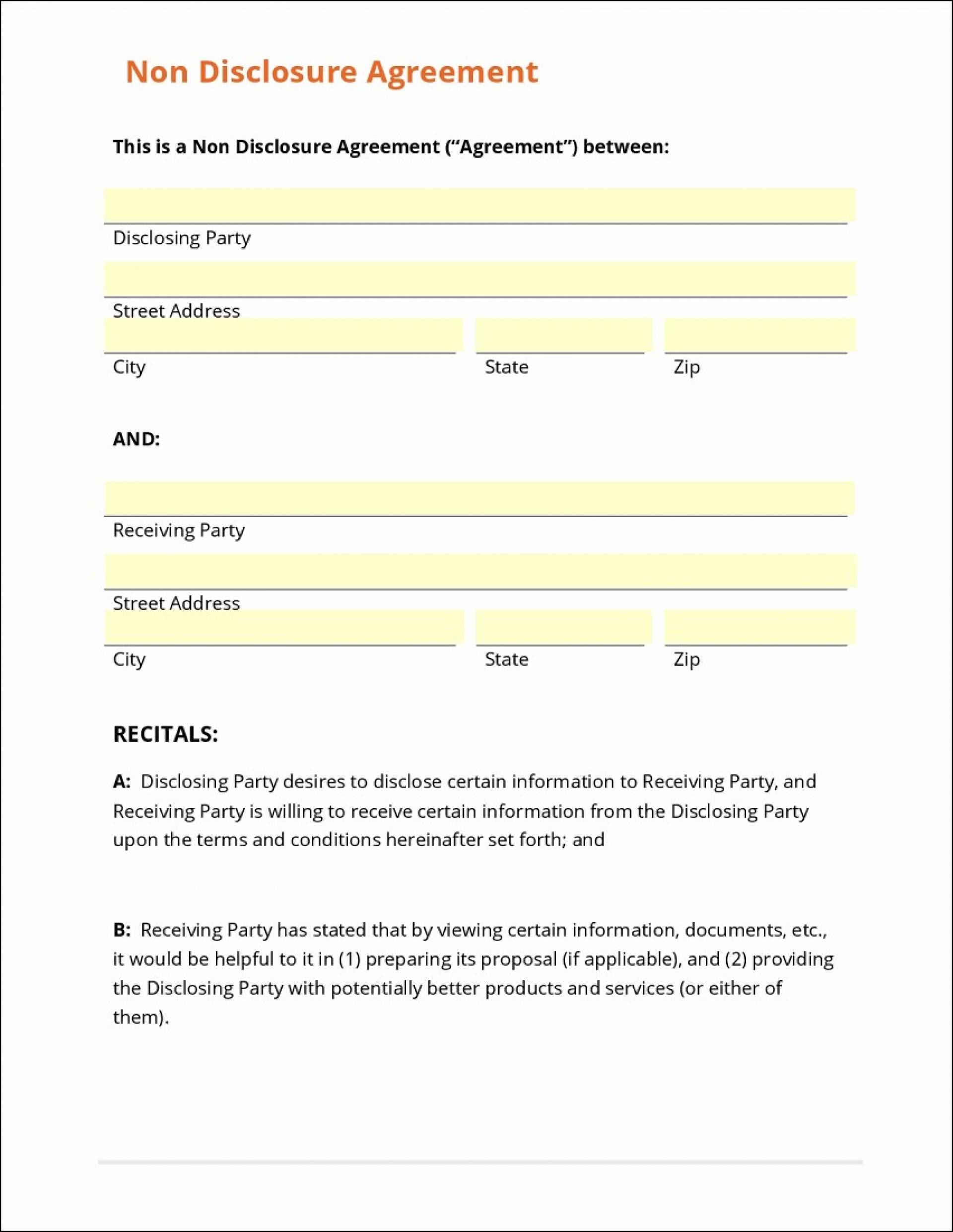 Non Disclosure Agreement Sample Word Format