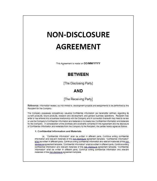 Non Disclosure Agreement Template Doc