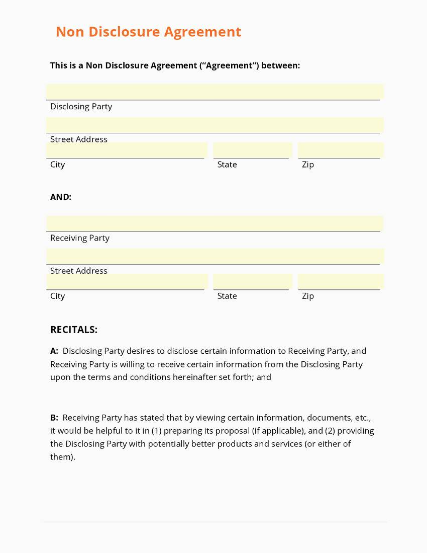 Non Disclosure Agreement Template For Employees