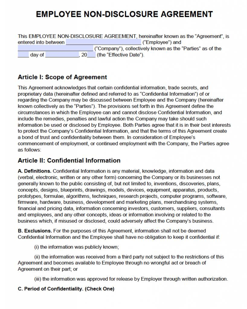 Non Disclosure Agreement Template Philippines