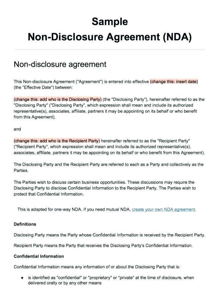 Non Disclosure Agreement Template Uk