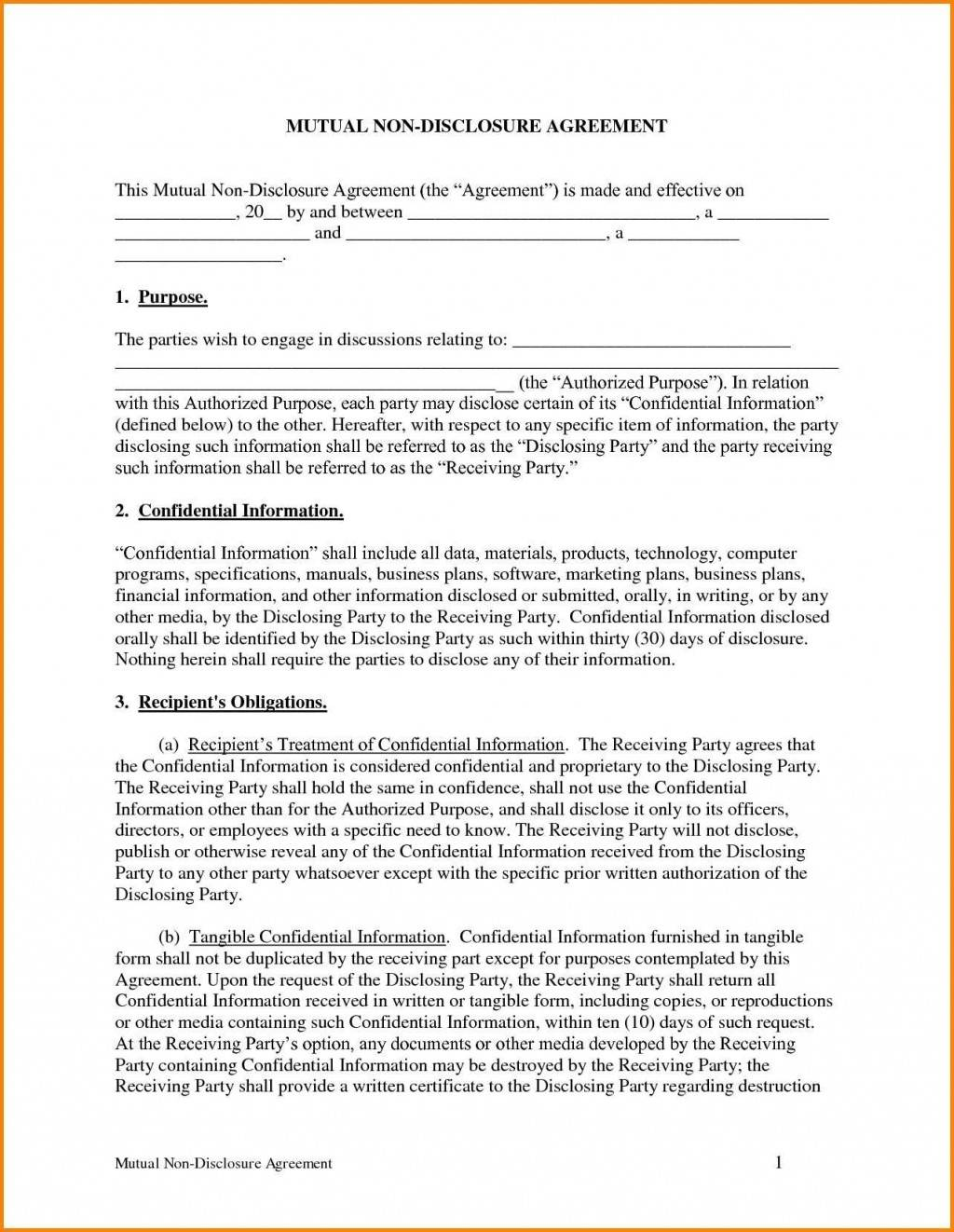 Non Disclosure Agreement Template Word Doc