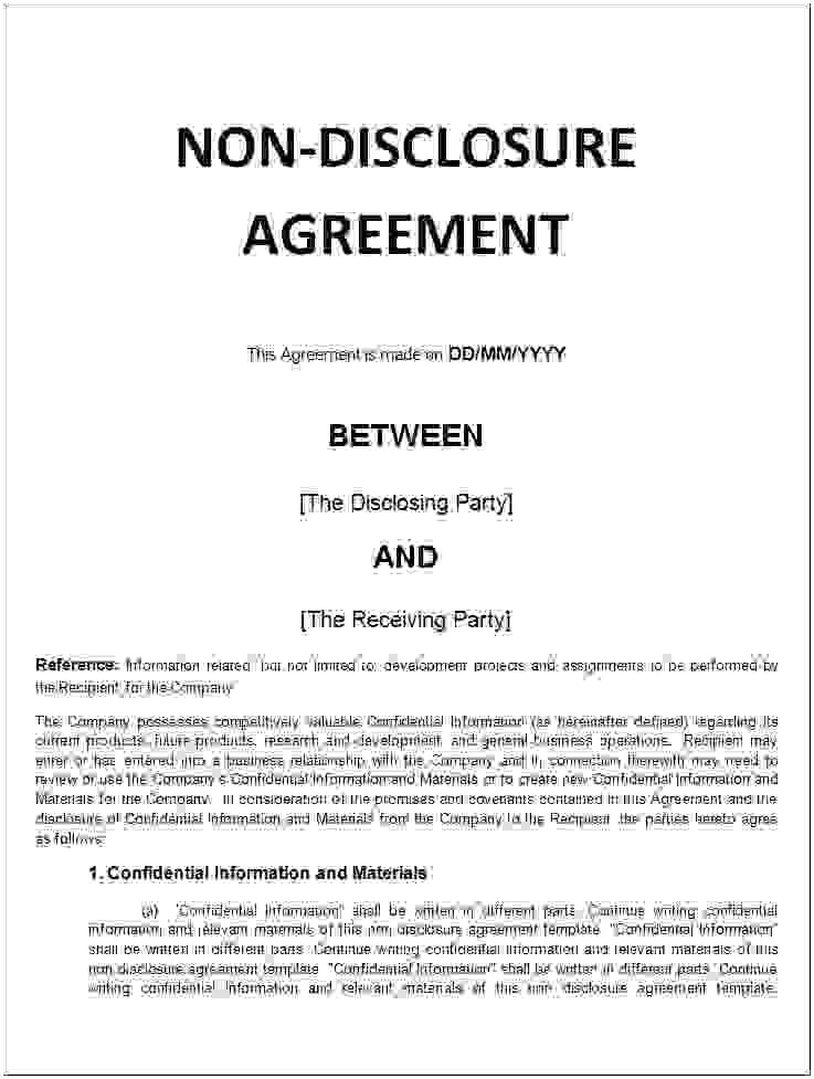 Non Disclosure Document Template Free