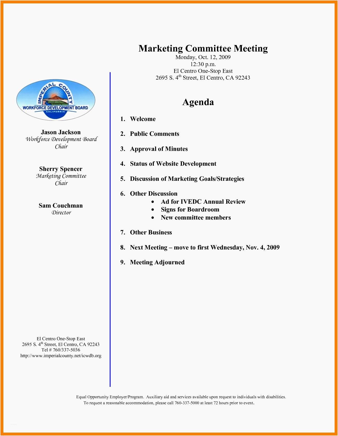 Non Profit Annual Meeting Agenda Template
