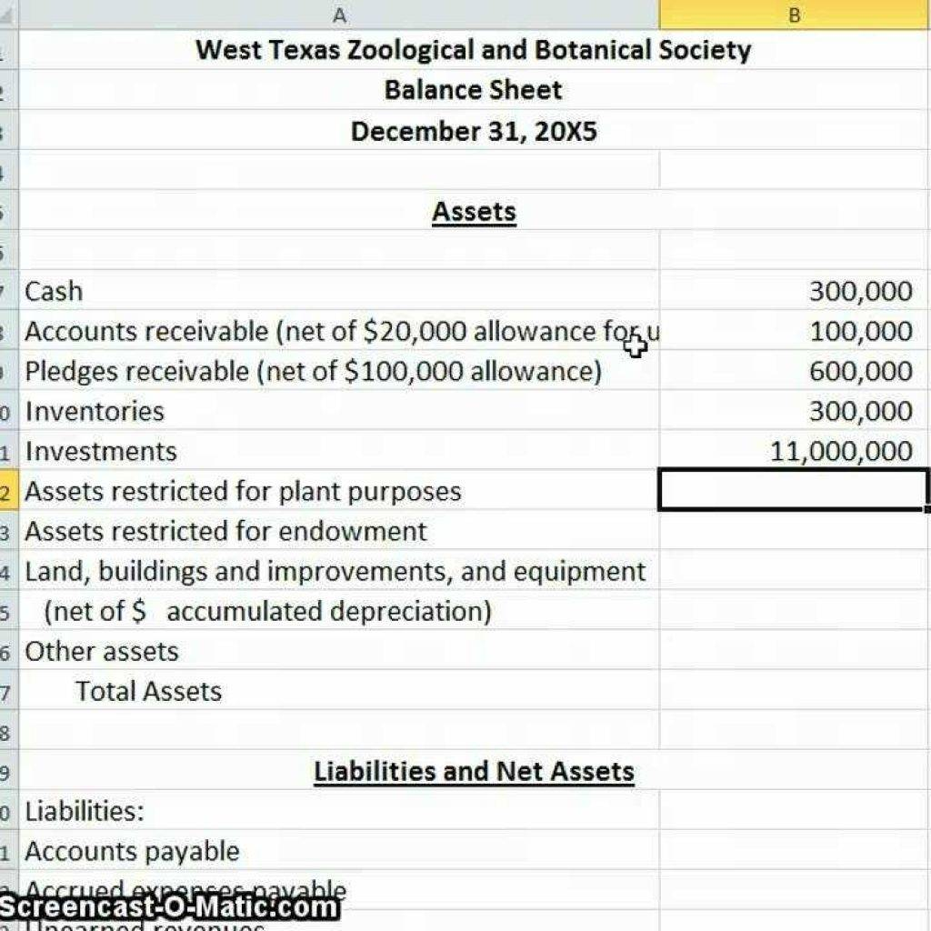Non Profit Balance Sheet Template Excel