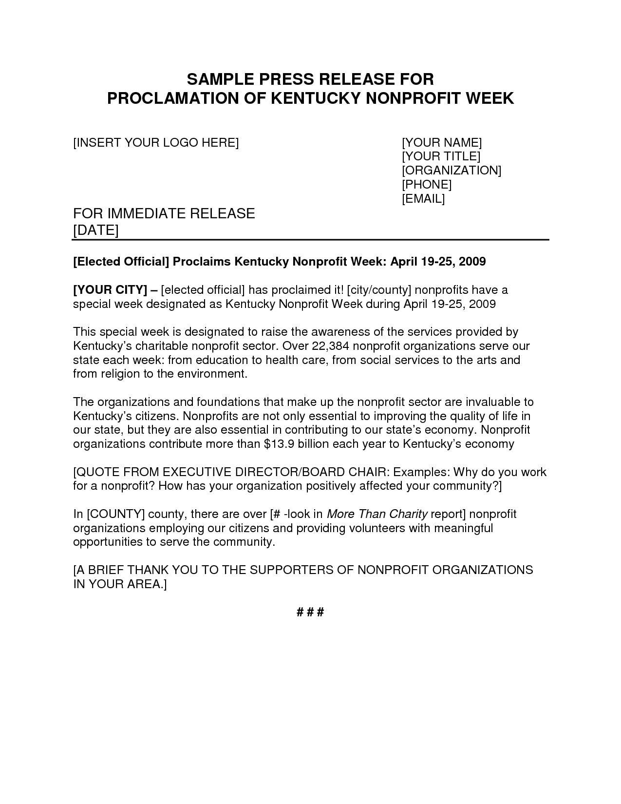 Non Profit Press Release Example