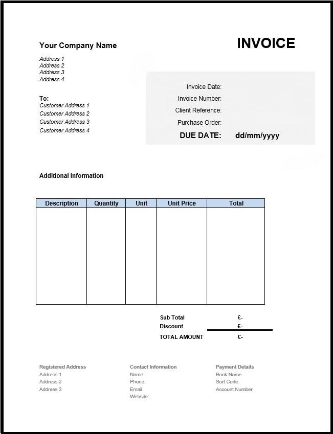 Non Vat Invoice Template Uk
