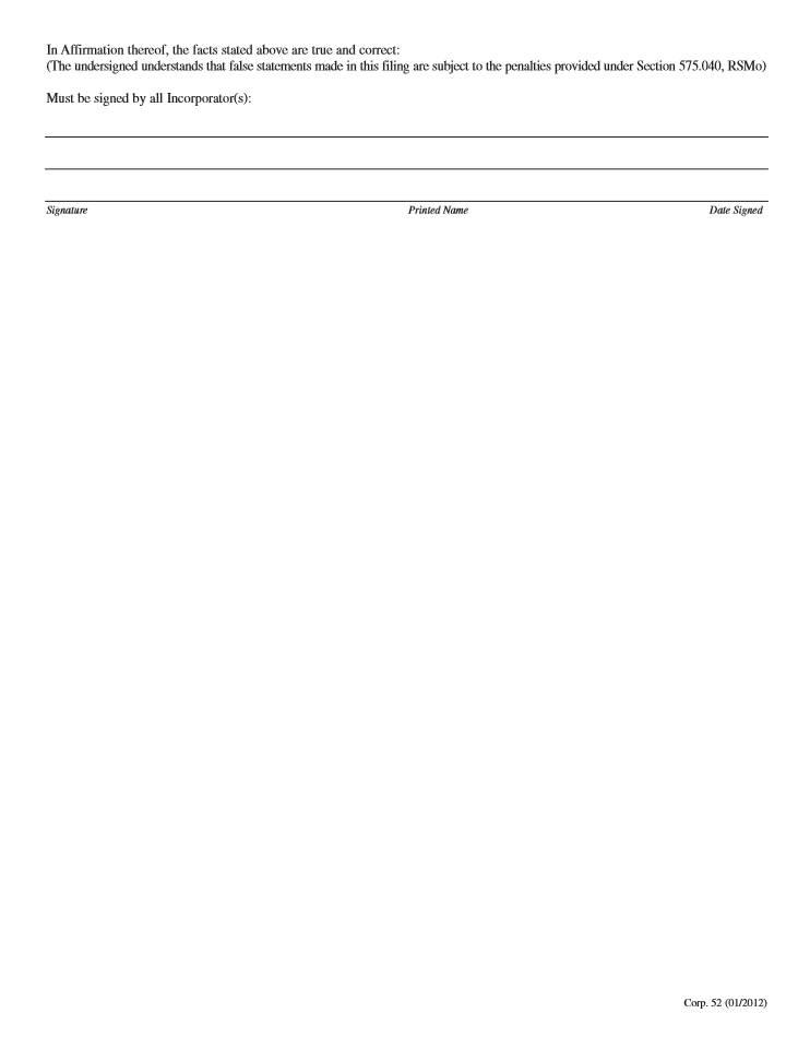 Nonprofit Articles Of Incorporation Form Missouri