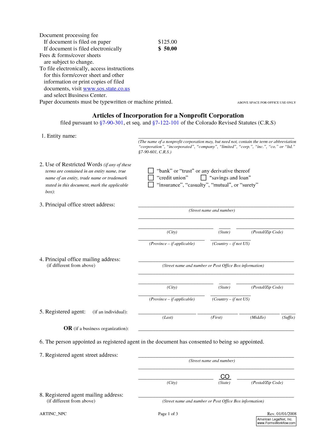 Nonprofit Articles Of Incorporation Template Colorado