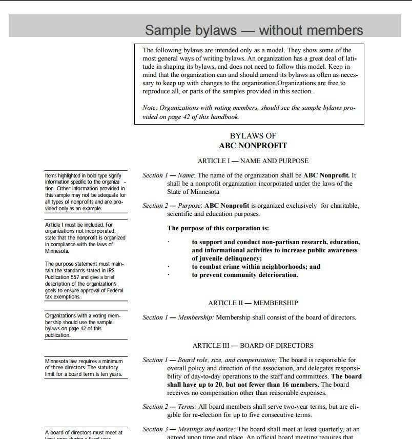 Nonprofit Organization Bylaws Template
