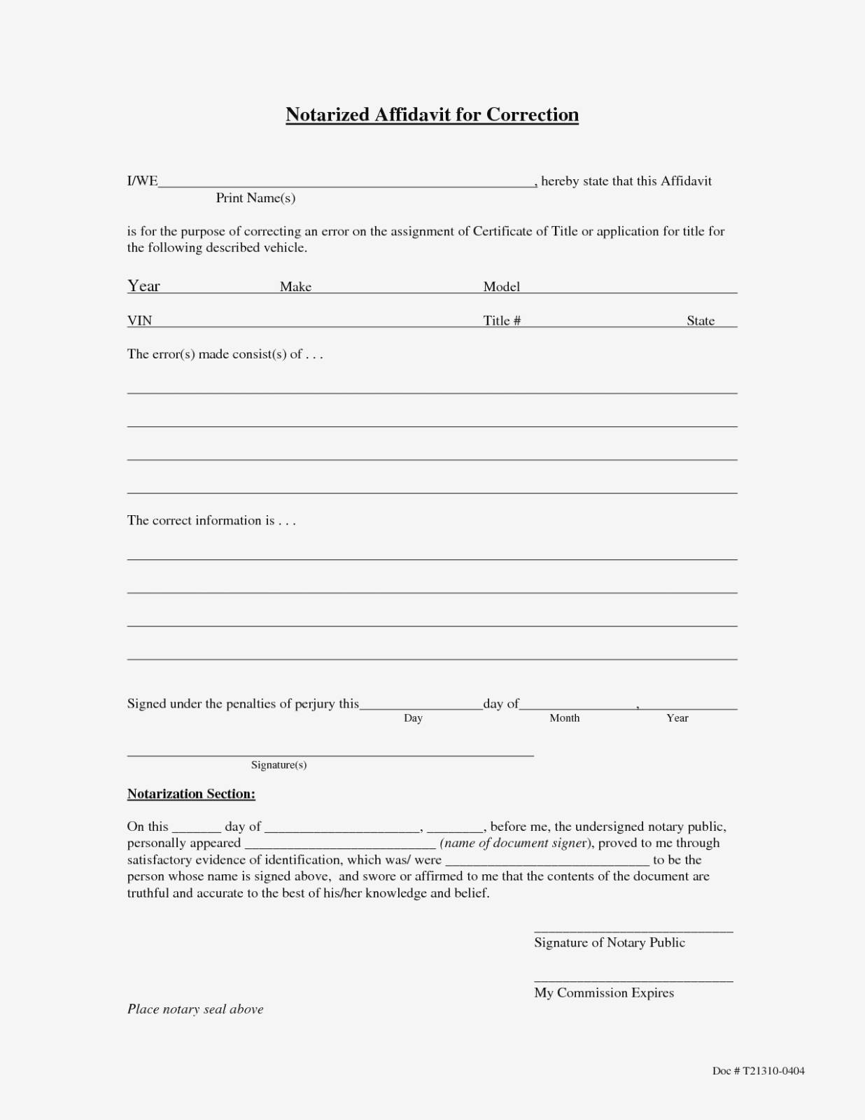 Notarized Affidavit Form