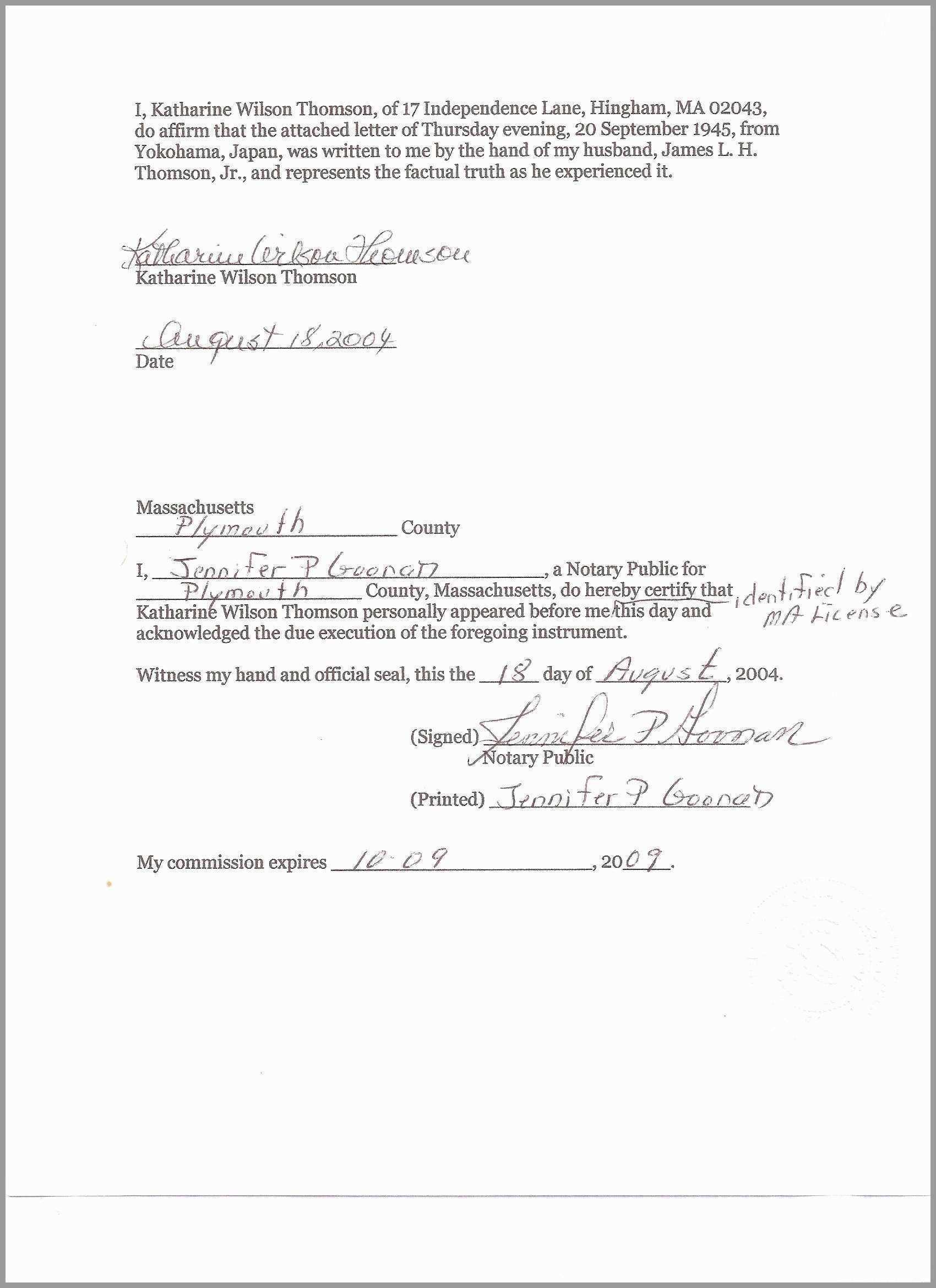 Notarized Affidavit Of Residency Template