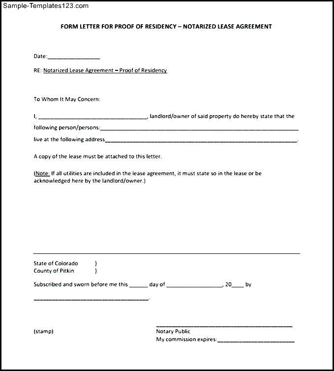 Notarized Affidavit Supporting Residency Template