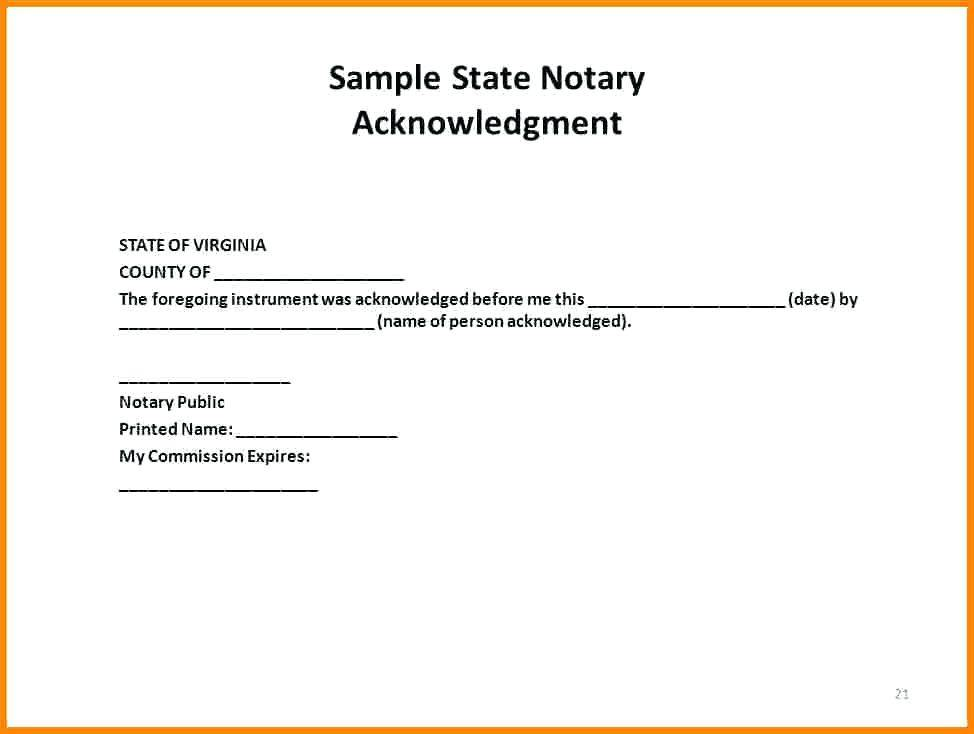 Notary Acknowledgment Template