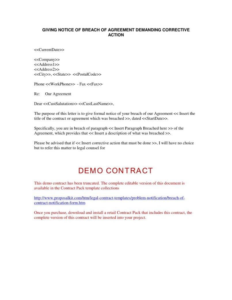 Notice Of Breach Of Contract Letter Template
