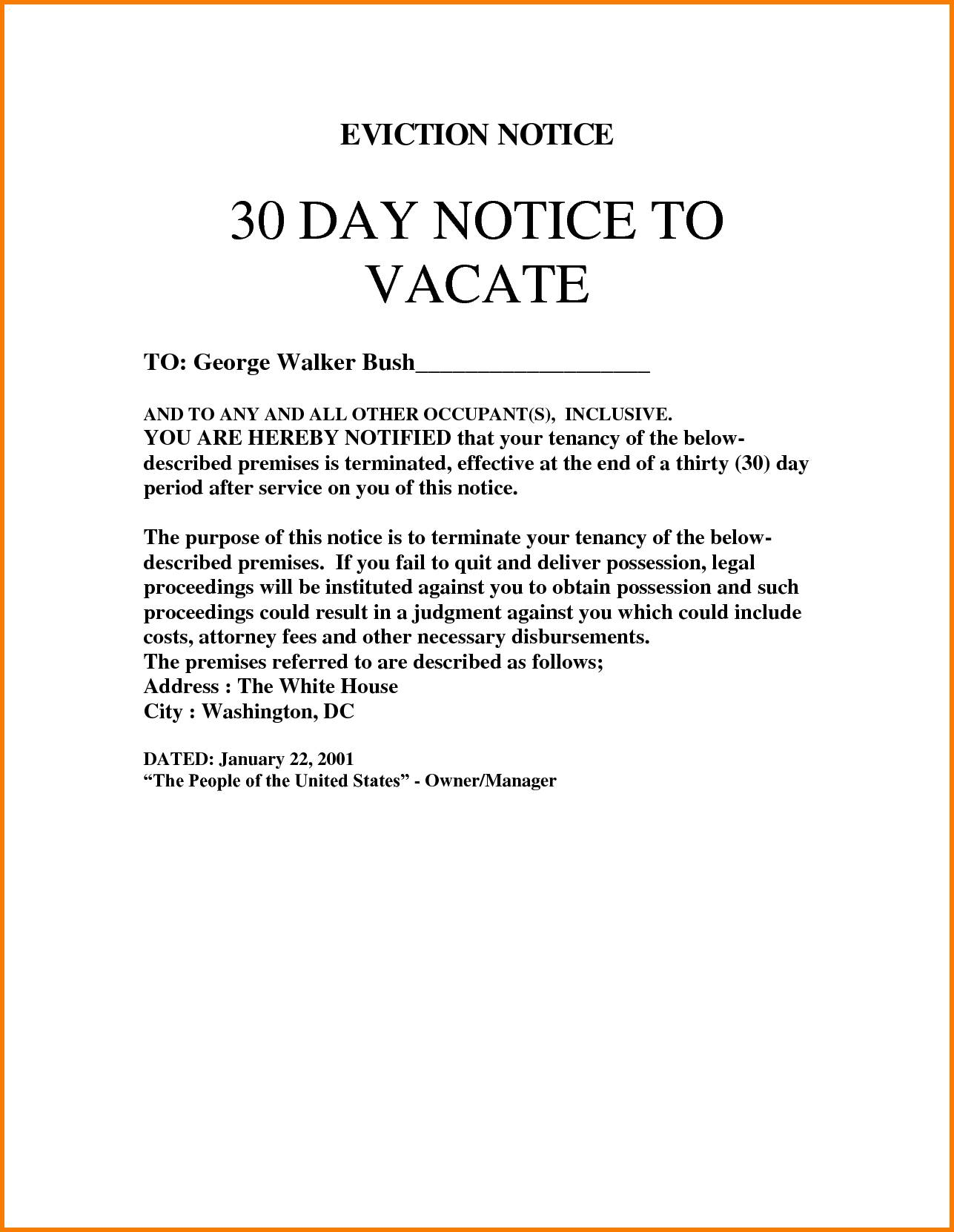 Notice Of Eviction Letter Template South Africa