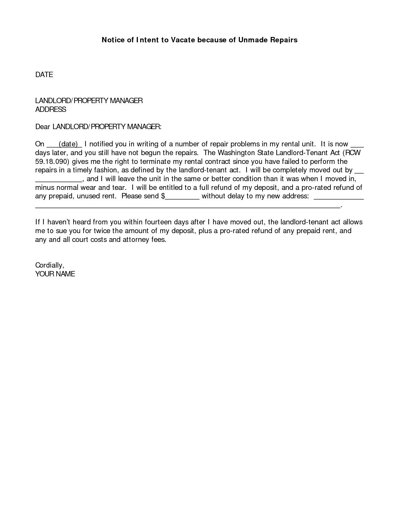 Notice Of Intent To Vacate Letter Template