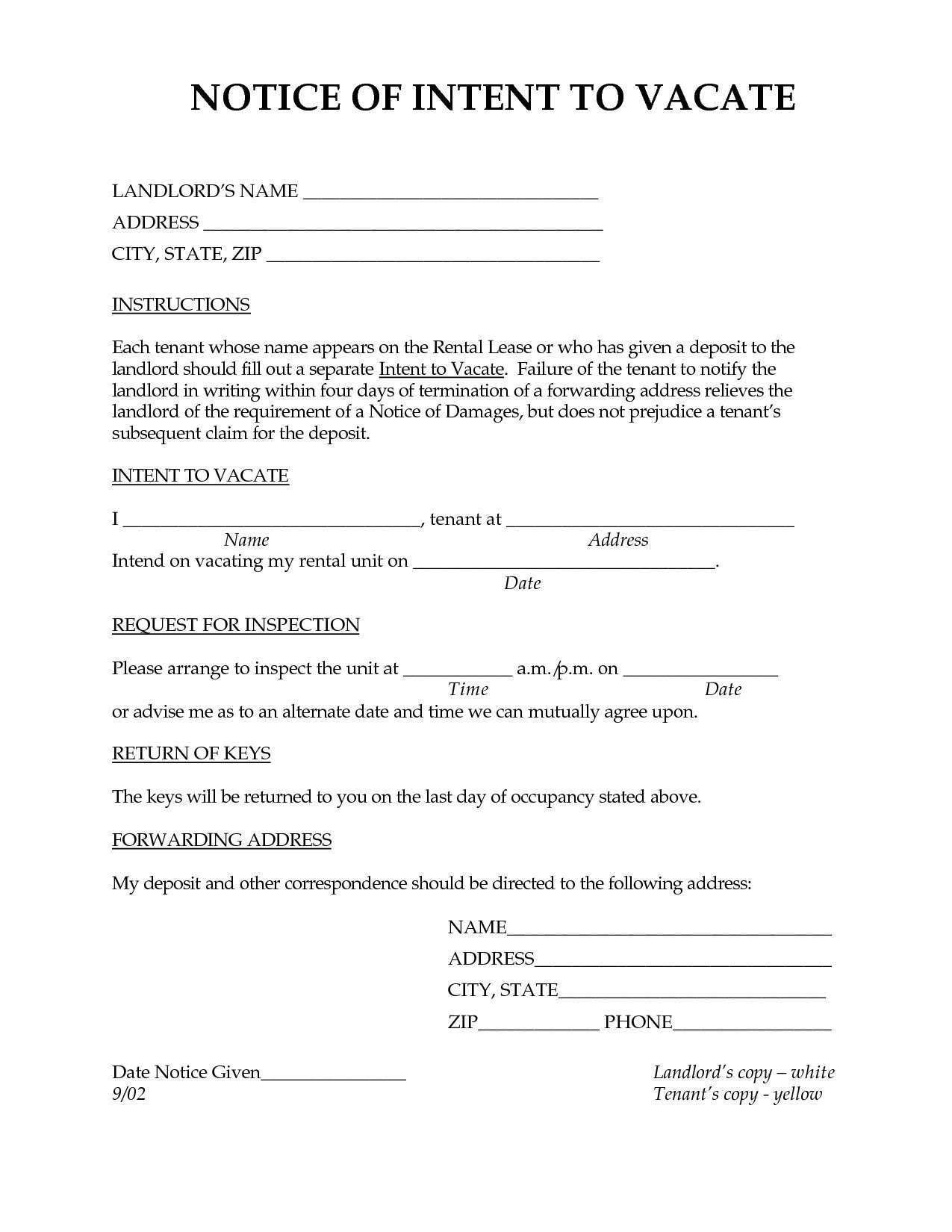 Notice Of Intent To Vacate Texas Template