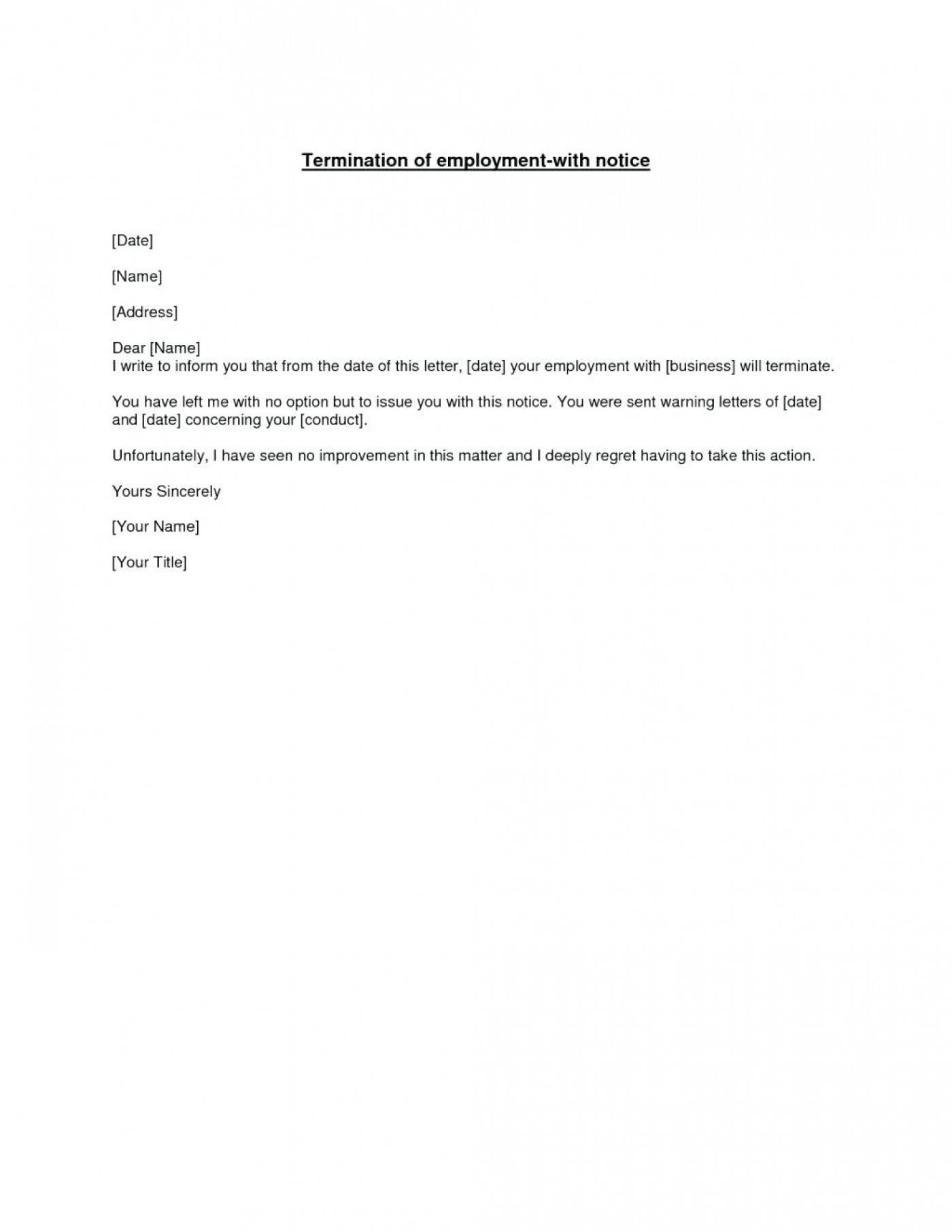 Notice Of Termination Of Employment Template
