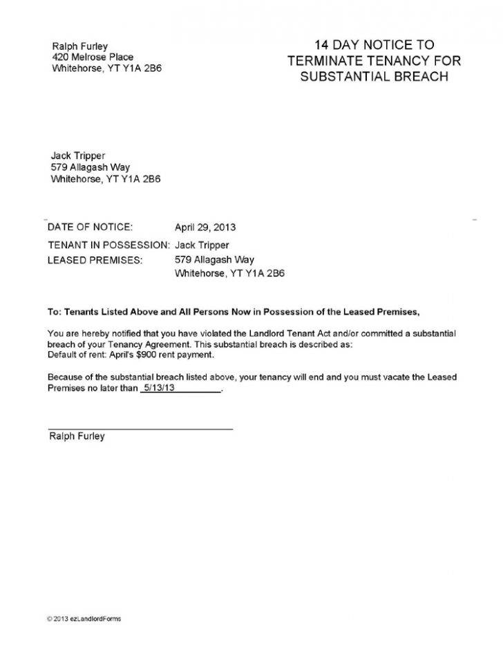 Notice Termination Lease Agreement Template