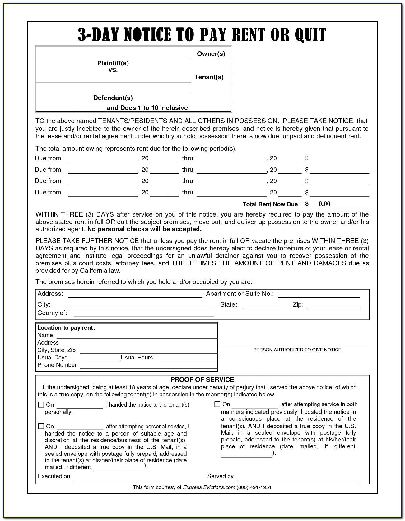 Notice To Pay Or Quit Template