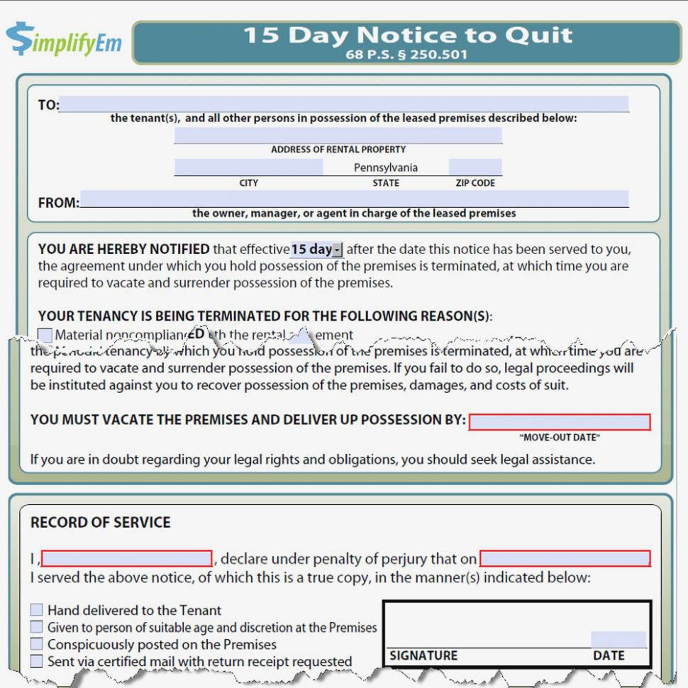 Notice To Quit Pa Template