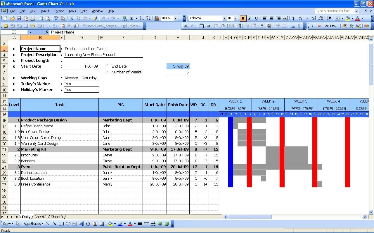 Numbers Gantt Chart Template Free