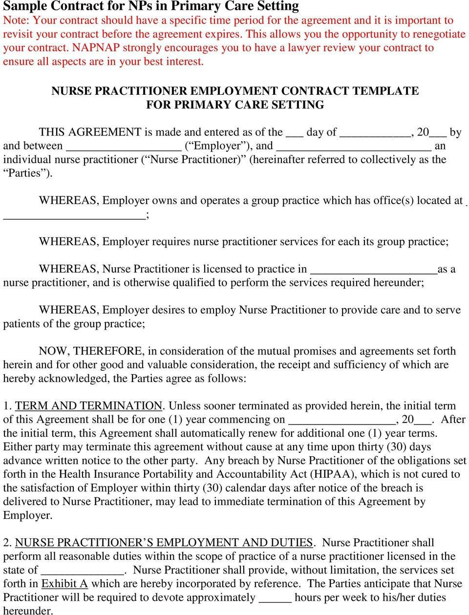 Nurse Practitioner Contract Template