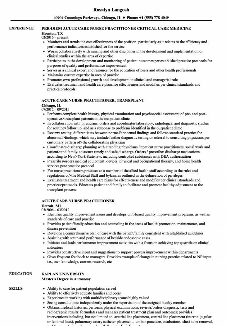 Nurse Practitioner Curriculum Vitae Samples