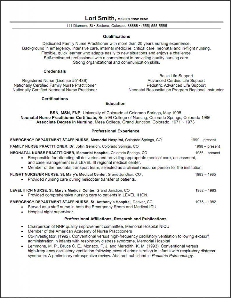 Nurse Practitioner Resume Templates Free