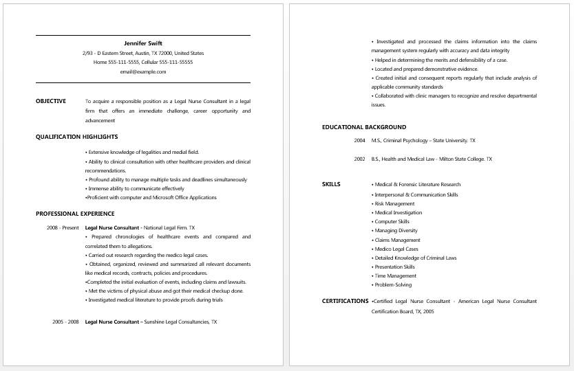 Nursing Assistant Job Resume Template