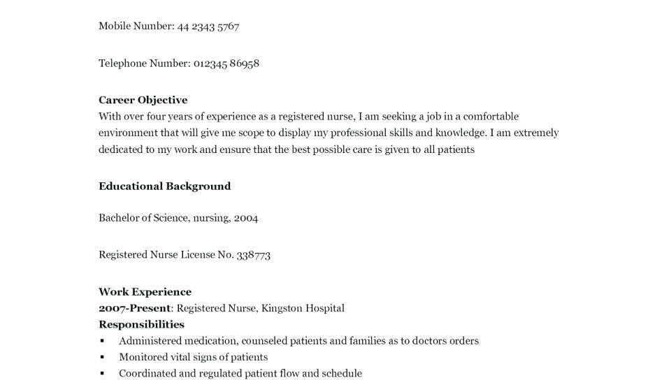 Nursing Cv Templates Free Download