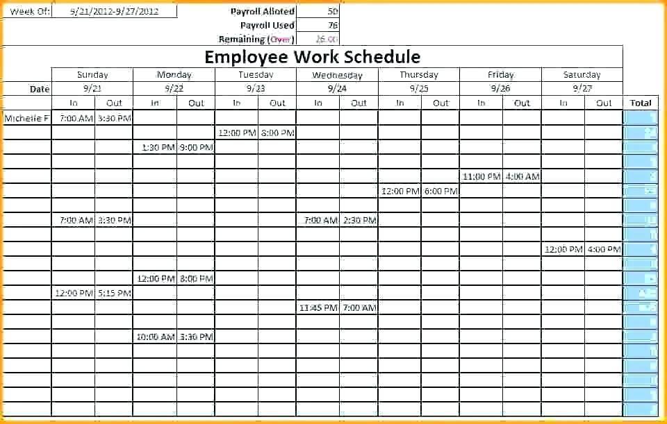Nursing Home Staff Schedule Template